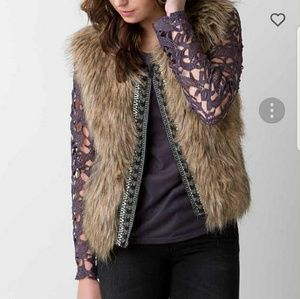 Miss Me Fur and Cable Knit Vest