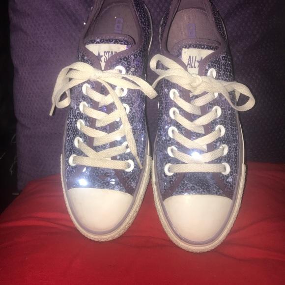 Converse Shoes   Purple Glitter Tennis