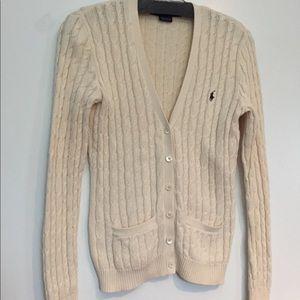 RALPH LAUREN cream Cable Knit Cardigan sweater EUC