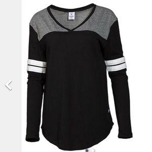 Tops - Black and White Striped V Neck L