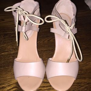 Nude wedges with ankle tie