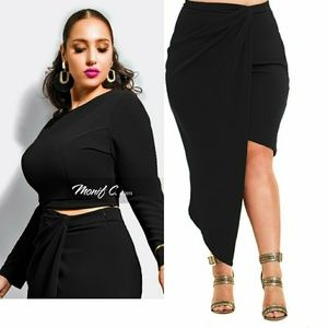 "Black ""Hunter"" Crop top and Asymmetrical Skirt"