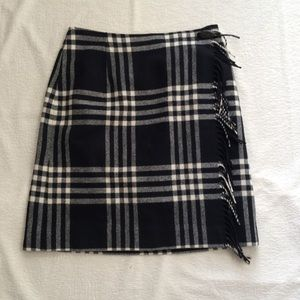Pendleton 100% Wool Black & White Wrap Skirt
