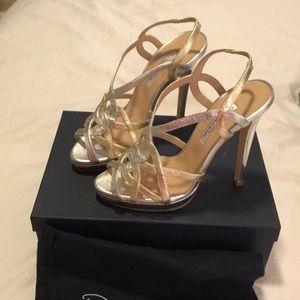 NWT Oscar De La Renta Metallic High Heel Sandals