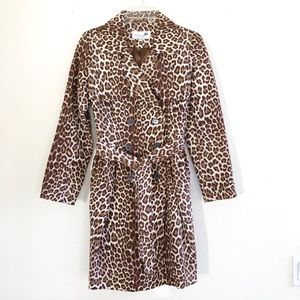 Animal Print Waterproof Belted Trench Coat
