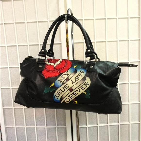 8ff25b0527bb Ed hardy woman purse black decorated perfect