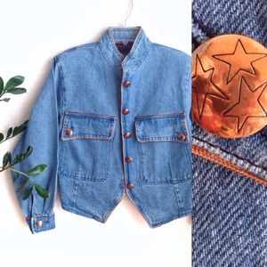 VTG✨80s Brass Star Military Jean Jacket!