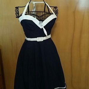 Navy Sailor Halter Pinup Couture Dress