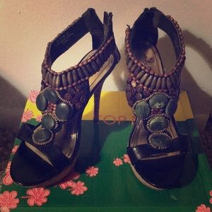 Black Heels with Beaded Design