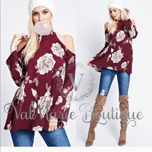 Dark Burgundy Floral Top