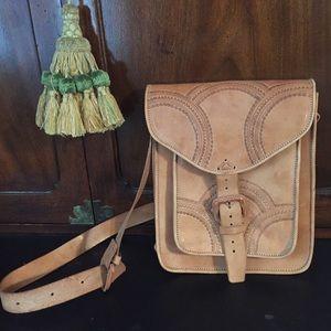 Nwot Boho Chic Leather Tooled crossbody Bag.