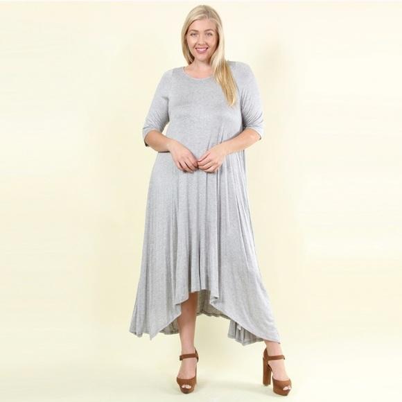 Plus Size Gray Asymmetrical Maxi Dress Boutique