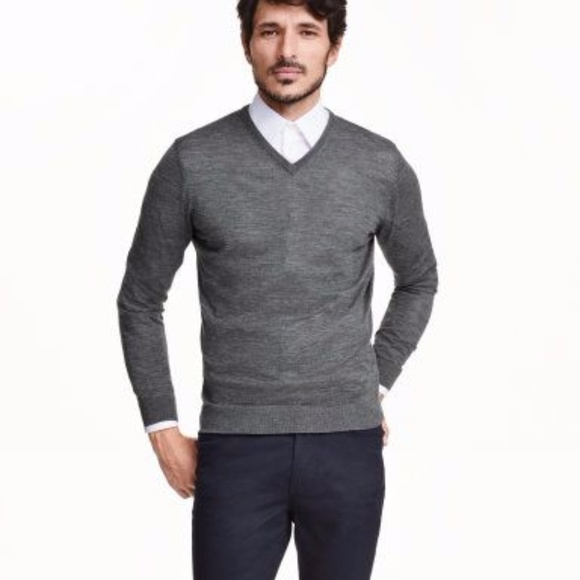 f5b4ee7907d9fe H&M Sweaters | Hm Mens Gray Silk Blend Vneck Sweater Lnwot | Poshmark