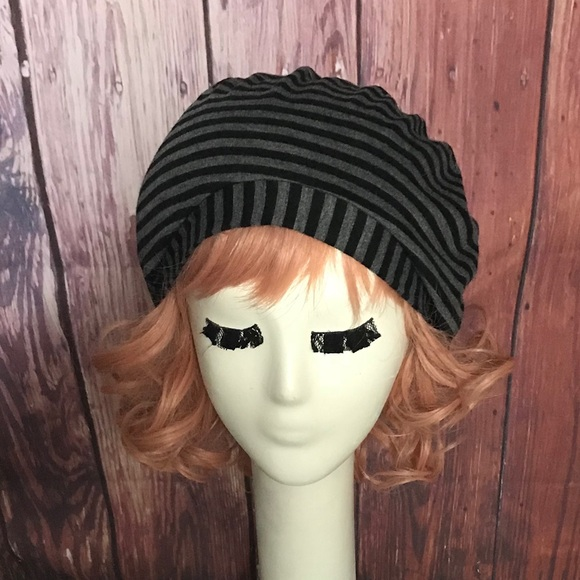 Striped Knit Beret Hat