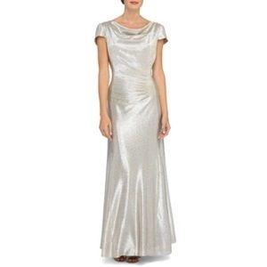 TAHARI Metallic Burnout Cowlneck Gown