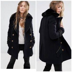 Free People Sedgwick Coat Faux Fur Peacoat S NWOT