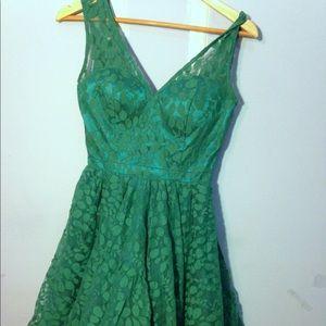 Chi Chi London ModCloth Green Lace Dress
