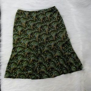 Ann Taylor Loft Green Floral Flare Silk Skirt