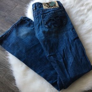 { House of Dereon } stitch embroidered jean pant