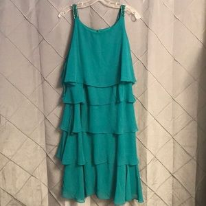NWT TEAL GREEN RUFFLE LAYER BEADED DRESS