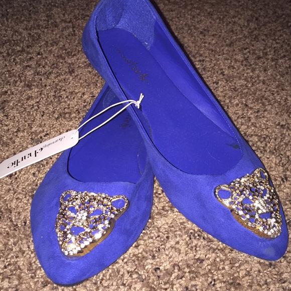 2b89e7ccd Royal Blue Jeweled Flats 💎