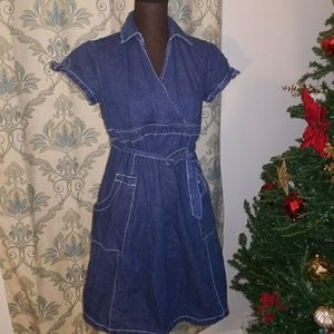 Motherhood Maternity Denim Faux Wrap Dress