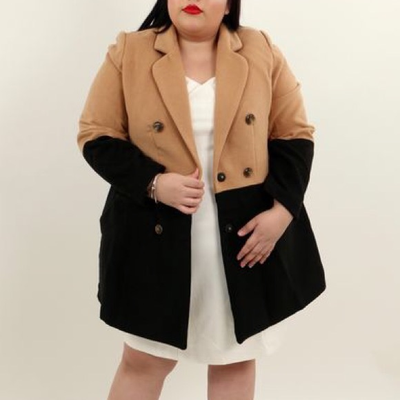 Eloquii Jackets & Blazers - Eloquii tan/black color block trench coat