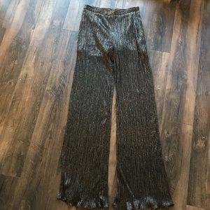 Metallic black wide leg pants Christmas party gold