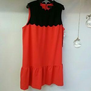 Victoria Beckham 1X Orange Black Dress