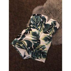Foreign Exchange Palm Leaf Strapless Romper