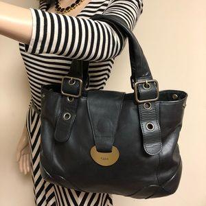 Chloe Vintage Black Leather Shoulder Tote Handbag