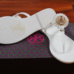 Tory Burch Shoes Melody Sandal Pearl White Gold Jelly