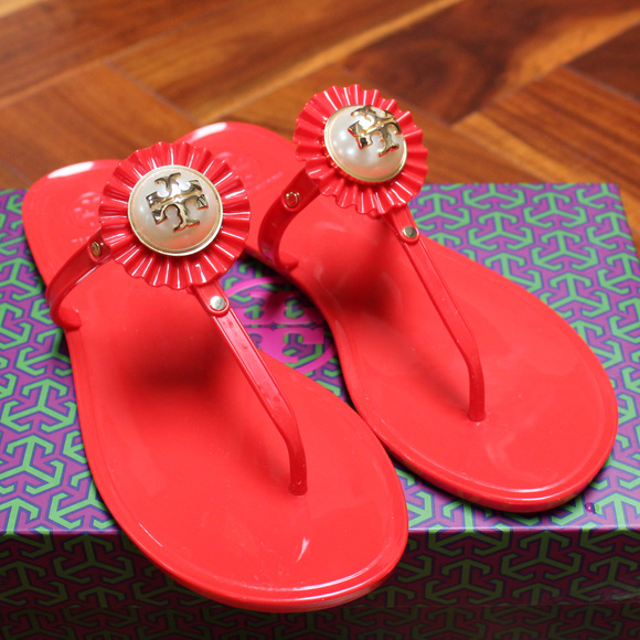 27f842cb62e Tory Burch Melody Sandal Pearl Red Gold Jelly