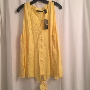 Yellow INC tank top with a tie at the bottom