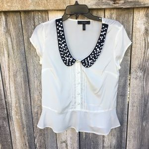 Sheer blouse with black beaded collar