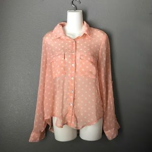 Tops - Light Coral Polka Dot Button Down