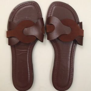 Zara Woman Contrast Leather Slides Like New 40