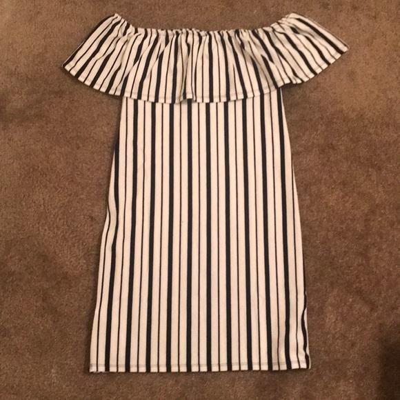 adcb69147ad7 Cotton On Dresses   Skirts - off the shoulder white black vertical stripe  dress