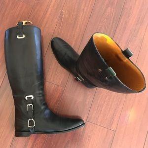 Ralph Lauren Tall Riding Leather Boots 8B Women's