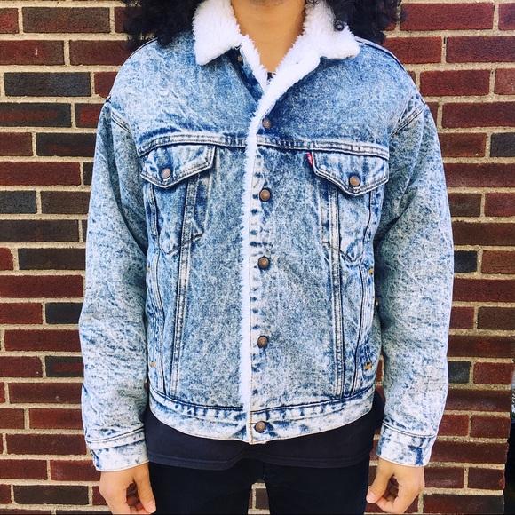 f0536fd4 Men's Vintage Levis Acid Wash Jacket W Sherpa. M_5a29e7b0a88e7d400e0054ee