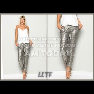 Pants - Sequins Joggers- SILVER