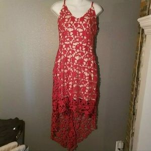 Dresses & Skirts - Nude Slip Dress With Red Lace Overlay