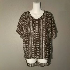 Tops - Staccato Black and White Tribal Top