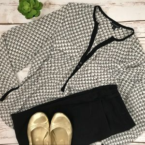 Cynthia Rowley Houndstooth Blouse Size Large
