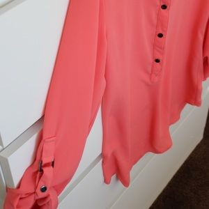 Coral Adrianna Papell long sleeve blouse