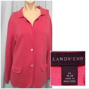 Lands' End pink cardigan