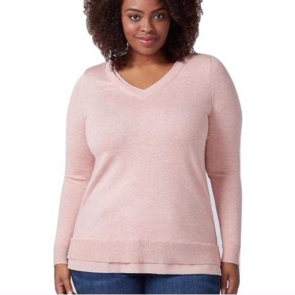 56% off Lane Bryant Sweaters - Lane Bryant Cozy Pink Chiffon Trim ...