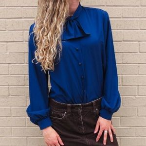 Vintage Navy Blue Bow Tie Blouse