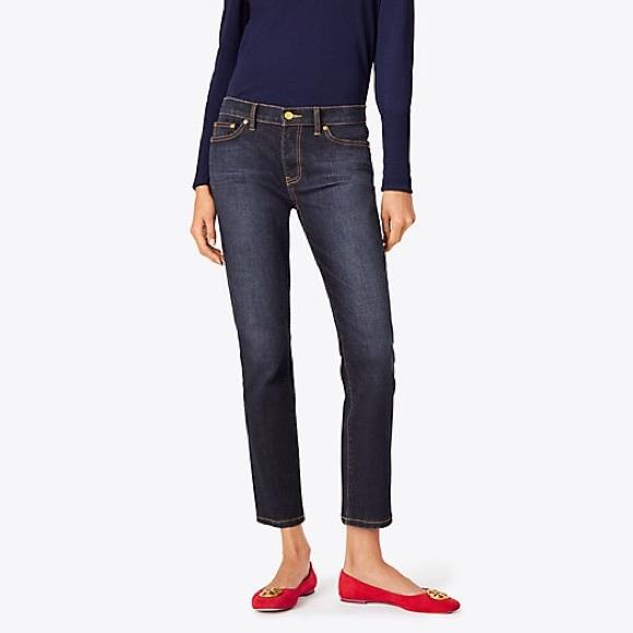 a45a084dcf TORY BURCH • sandy cropped straight leg jeans. M 5a29ef2678b31c04a3007c09