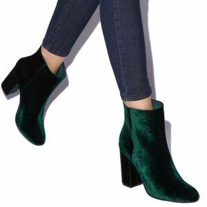 NWOT Denny Dark Green Velvet Booties
